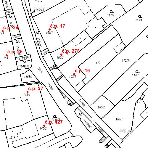 Katastrální mapa Stavební objekt Senice na Hané 16, Senice na Hané