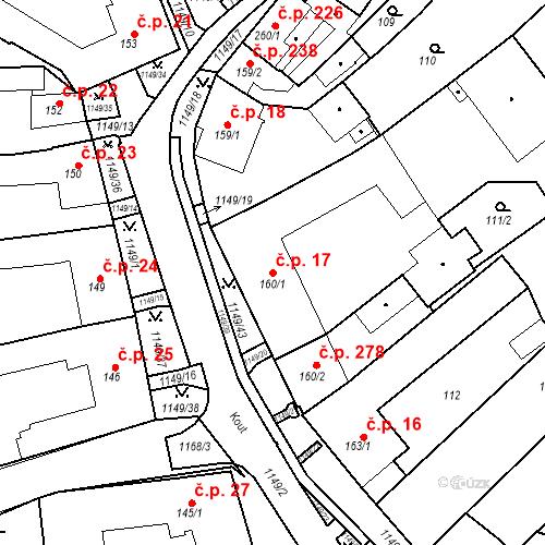 Katastrální mapa Stavební objekt Senice na Hané 17, Senice na Hané