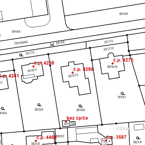 Katastrální mapa Stavební objekt Prostějov 4288, Prostějov