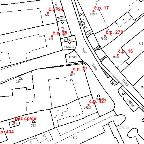 Katastrální mapa Stavební objekt Senice na Hané 27, Senice na Hané