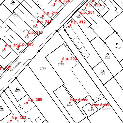 Katastrální mapa Stavební objekt Senice na Hané 203, Senice na Hané