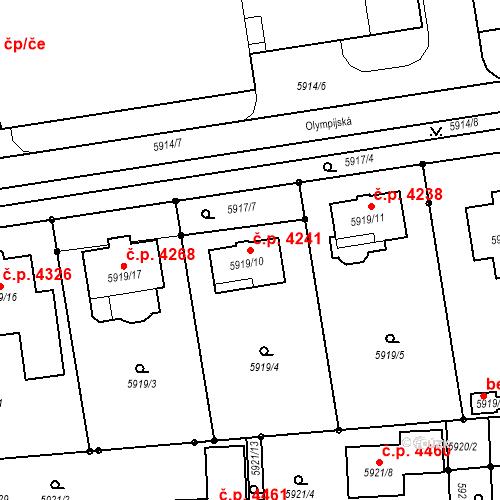 Katastrální mapa Stavební objekt Prostějov 4241, Prostějov