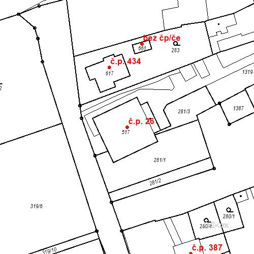 Katastrální mapa Stavební objekt Senice na Hané 26, Senice na Hané