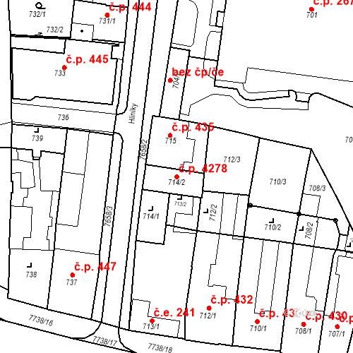 Katastrální mapa Stavební objekt Prostějov 4278, Prostějov