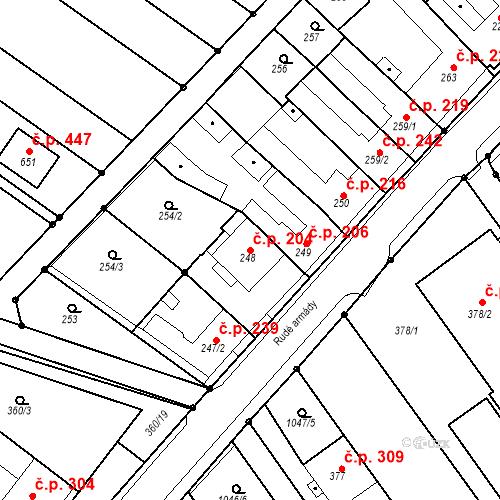 Katastrální mapa Stavební objekt Senice na Hané 204, Senice na Hané