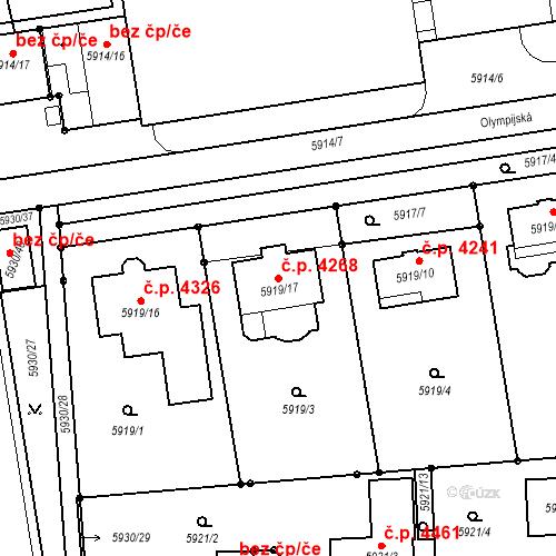 Katastrální mapa Stavební objekt Prostějov 4268, Prostějov