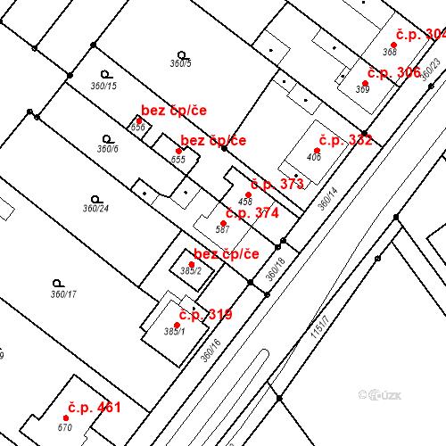 Katastrální mapa Stavební objekt Senice na Hané 374, Senice na Hané