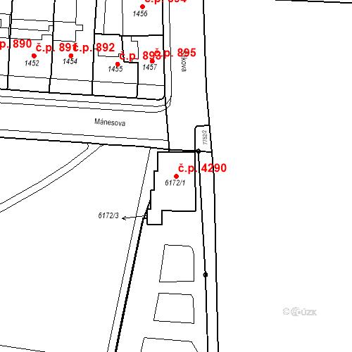 Katastrální mapa Stavební objekt Prostějov 4290, Prostějov