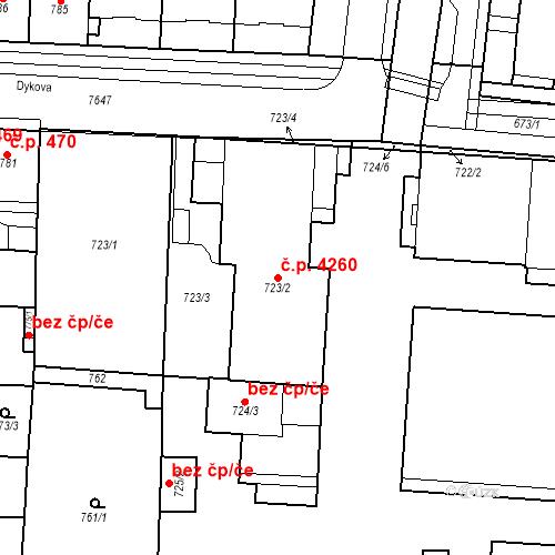 Katastrální mapa Stavební objekt Prostějov 4260, Prostějov
