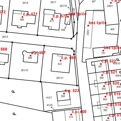 Katastrální mapa Stavební objekt Smržice 566, Smržice