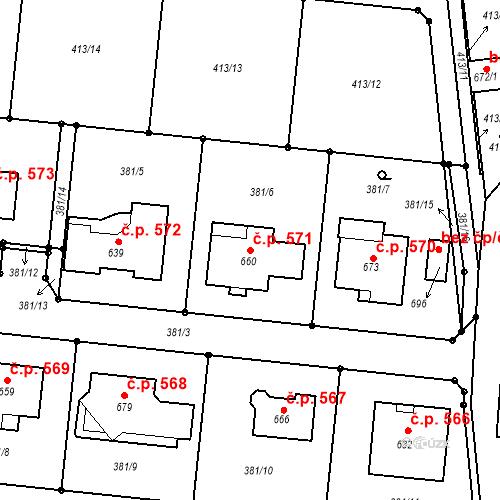 Katastrální mapa Stavební objekt Smržice 571, Smržice