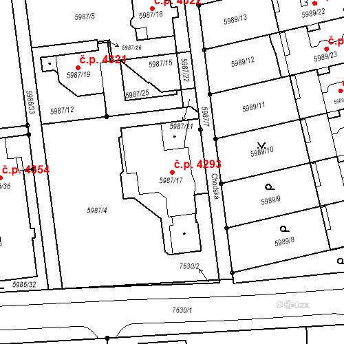 Katastrální mapa Stavební objekt Prostějov 4293, Prostějov