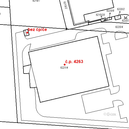 Katastrální mapa Stavební objekt Prostějov 4263, Prostějov