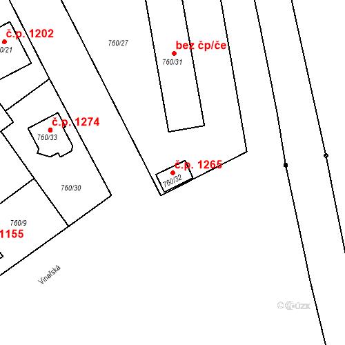 Katastrální mapa Stavební objekt Ratíškovice 1265, Ratíškovice