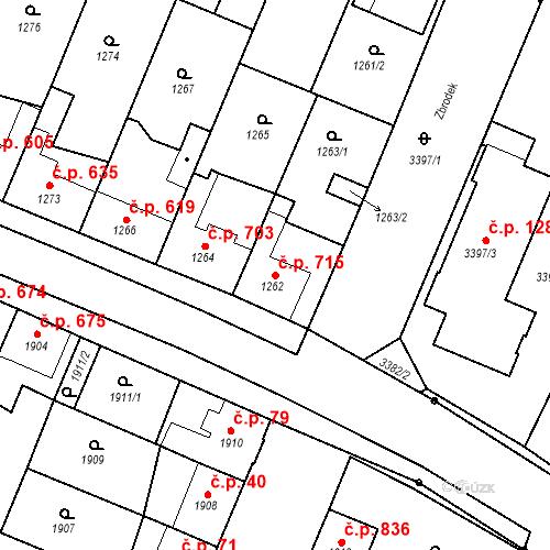 Katastrální mapa Stavební objekt Ratíškovice 715, Ratíškovice