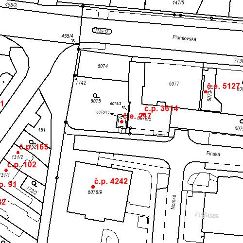 Katastrální mapa Stavební objekt Prostějov 217, Prostějov