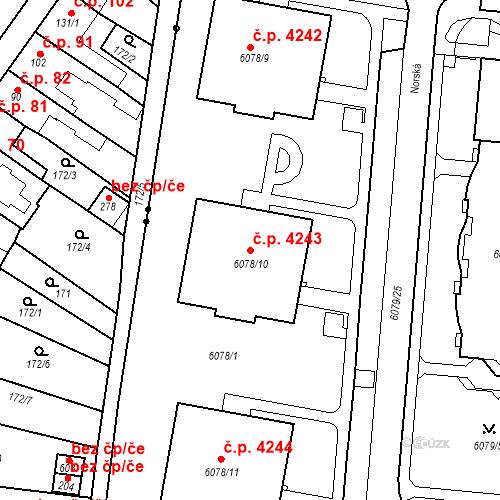 Katastrální mapa Stavební objekt Prostějov 4243, Prostějov