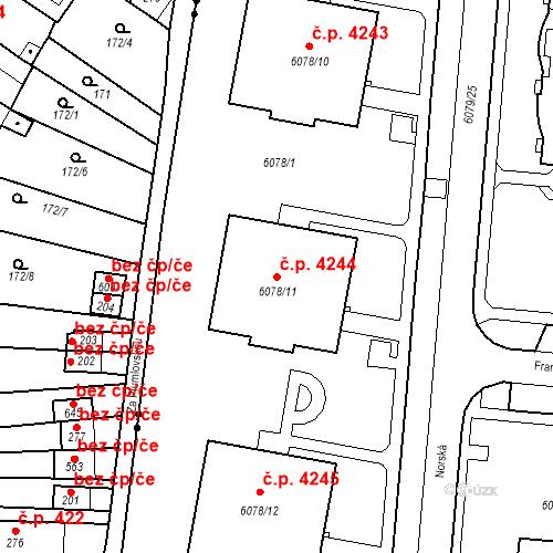 Katastrální mapa Stavební objekt Prostějov 4244, Prostějov