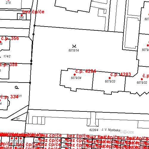 Katastrální mapa Stavební objekt Prostějov 4284, Prostějov