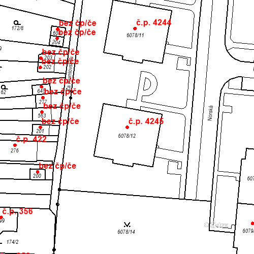 Katastrální mapa Stavební objekt Prostějov 4245, Prostějov