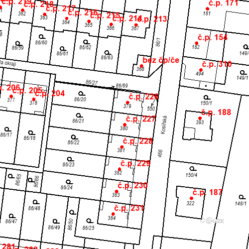 Katastrální mapa Stavební objekt Krasice 227, Prostějov