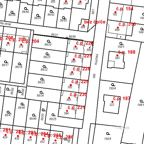 Katastrální mapa Stavební objekt Krasice 228, Prostějov