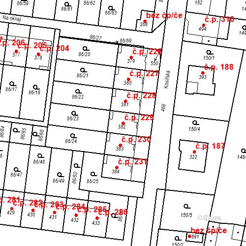 Katastrální mapa Stavební objekt Krasice 229, Prostějov