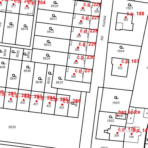 Katastrální mapa Stavební objekt Krasice 231, Prostějov