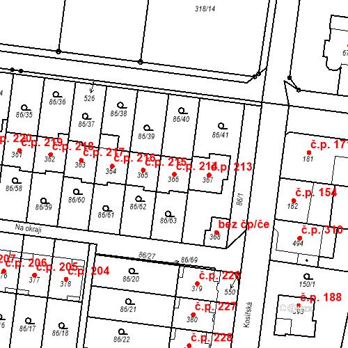 Katastrální mapa Stavební objekt Krasice 214, Prostějov