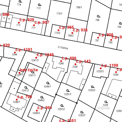Katastrální mapa Stavební objekt Ratíškovice 696, Ratíškovice