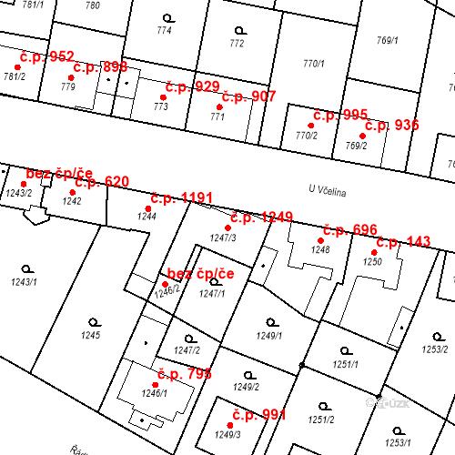 Katastrální mapa Stavební objekt Ratíškovice 1249, Ratíškovice