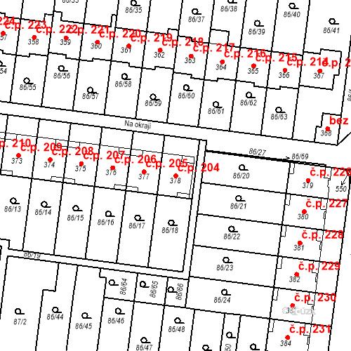 Katastrální mapa Stavební objekt Krasice 204, Prostějov