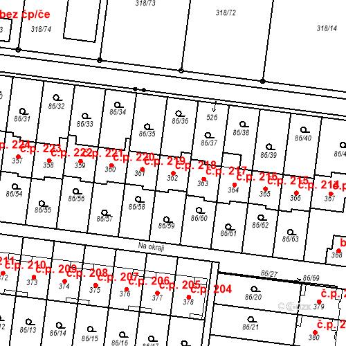 Katastrální mapa Stavební objekt Krasice 218, Prostějov