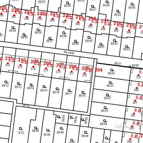 Katastrální mapa Stavební objekt Krasice 205, Prostějov