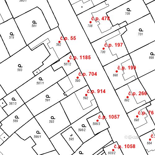 Katastrální mapa Stavební objekt Ratíškovice 704, Ratíškovice
