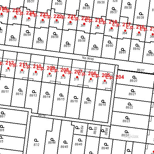 Katastrální mapa Stavební objekt Krasice 206, Prostějov