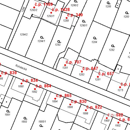 Katastrální mapa Stavební objekt Ratíškovice 707, Ratíškovice