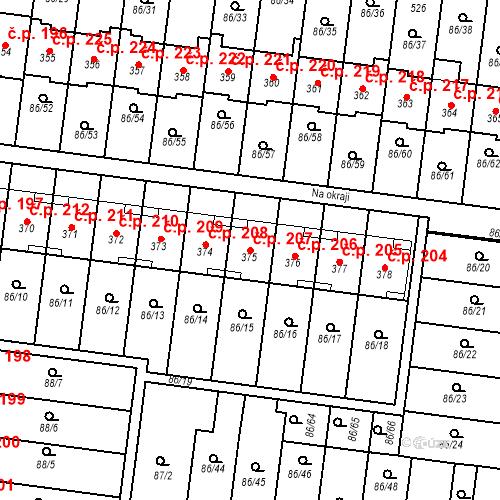 Katastrální mapa Stavební objekt Krasice 207, Prostějov