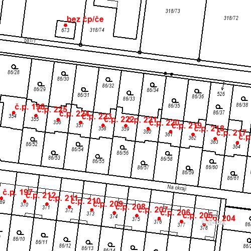 Katastrální mapa Stavební objekt Krasice 221, Prostějov