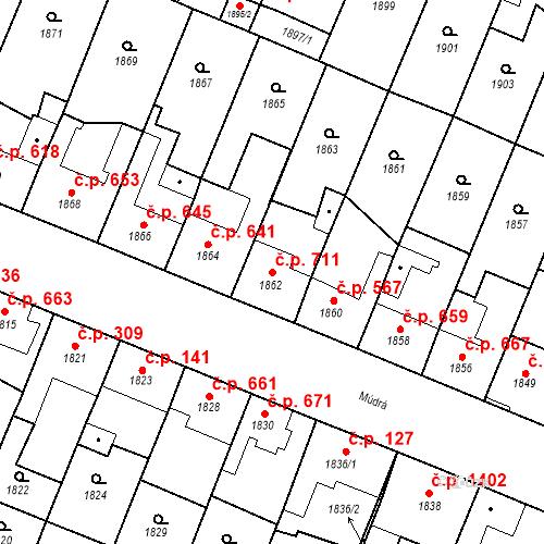 Katastrální mapa Stavební objekt Ratíškovice 711, Ratíškovice
