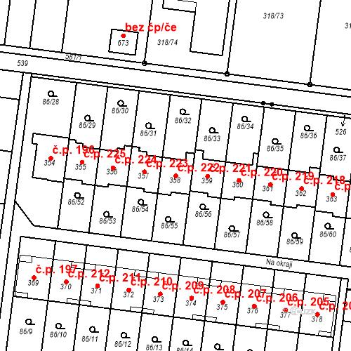 Katastrální mapa Stavební objekt Krasice 222, Prostějov
