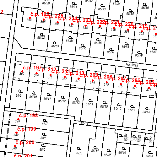 Katastrální mapa Stavební objekt Krasice 209, Prostějov