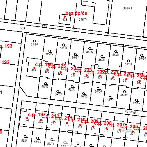 Katastrální mapa Stavební objekt Krasice 223, Prostějov