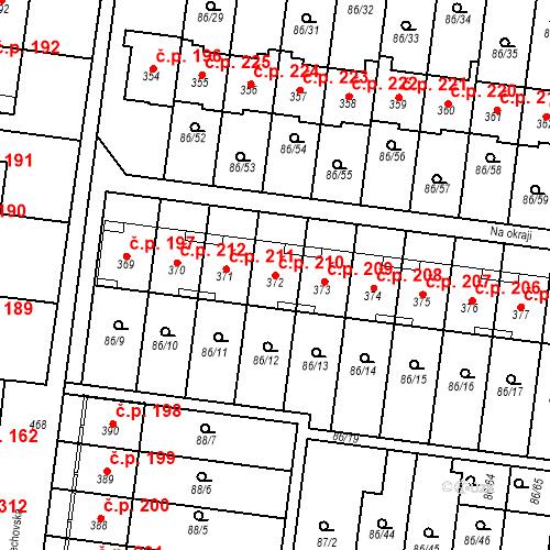 Katastrální mapa Stavební objekt Krasice 210, Prostějov
