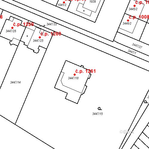 Katastrální mapa Stavební objekt Ratíškovice 1261, Ratíškovice