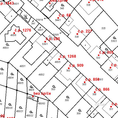 Katastrální mapa Stavební objekt Ratíškovice 1268, Ratíškovice
