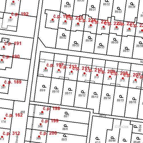 Katastrální mapa Stavební objekt Krasice 211, Prostějov