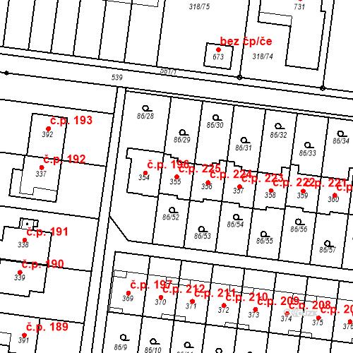 Katastrální mapa Stavební objekt Krasice 225, Prostějov