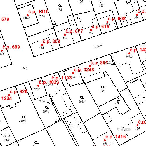 Katastrální mapa Stavební objekt Ratíškovice 1248, Ratíškovice