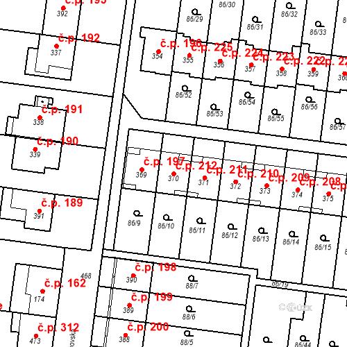 Katastrální mapa Stavební objekt Krasice 212, Prostějov